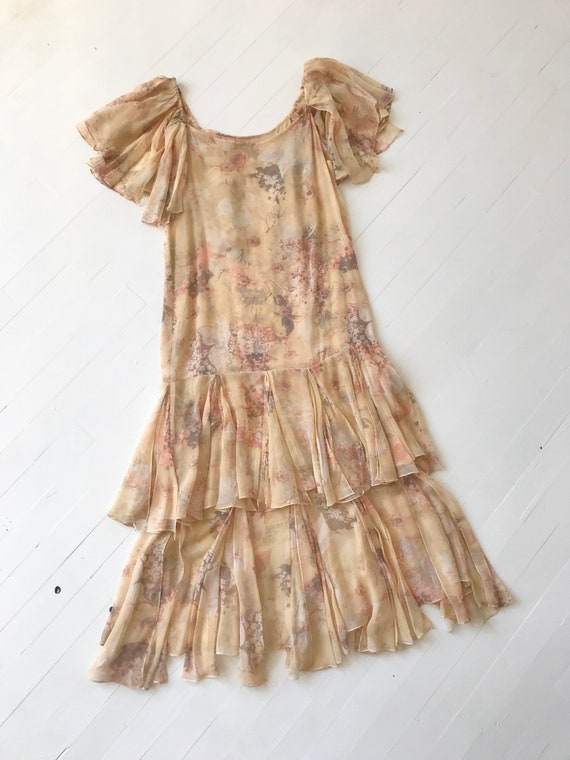 1970s-Does-1920s Silk Chiffon Floral Ruffled Dress - image 9