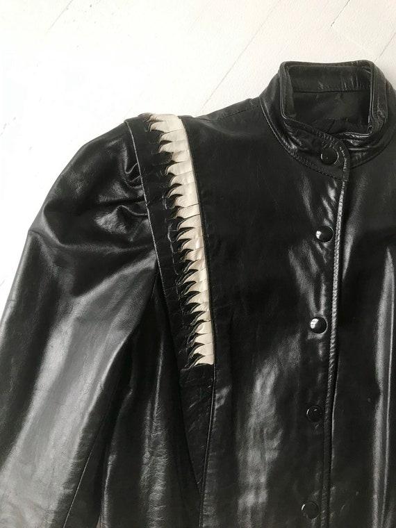 1980s Puff Sleeve Leather Jacket - image 2
