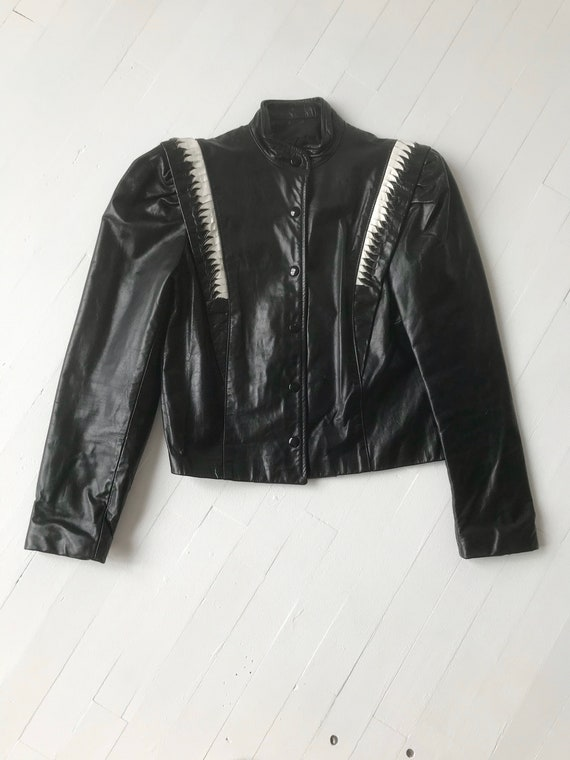 1980s Puff Sleeve Leather Jacket - image 3