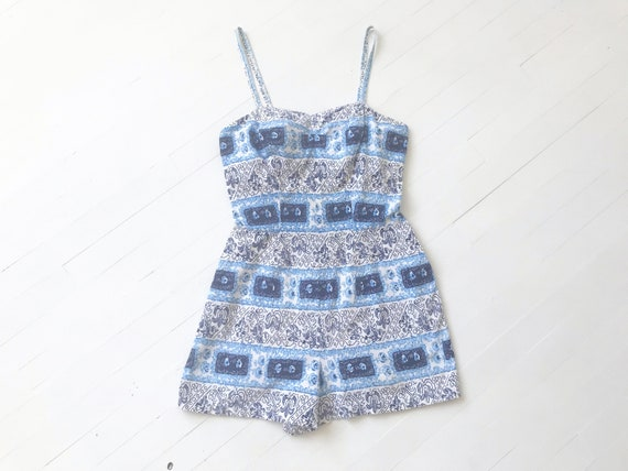 1950s Blue Floral Print Swimsuit Romper