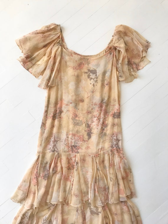 1970s-Does-1920s Silk Chiffon Floral Ruffled Dress - image 7