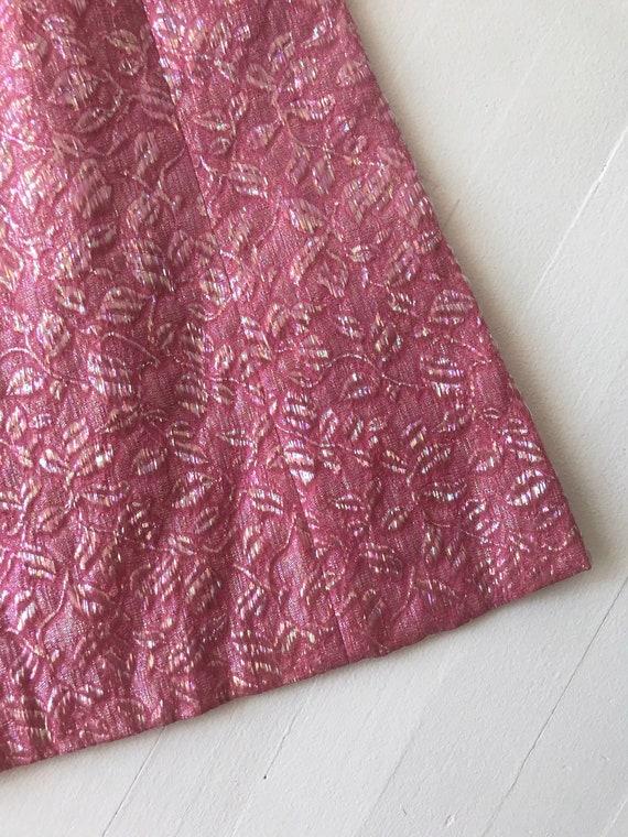 1960s Iridescent Pink Brocade Dress - image 5