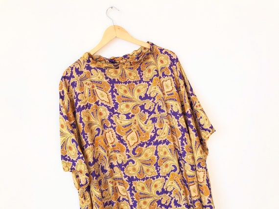 1970s Silk Paisley Print Caftan Dress