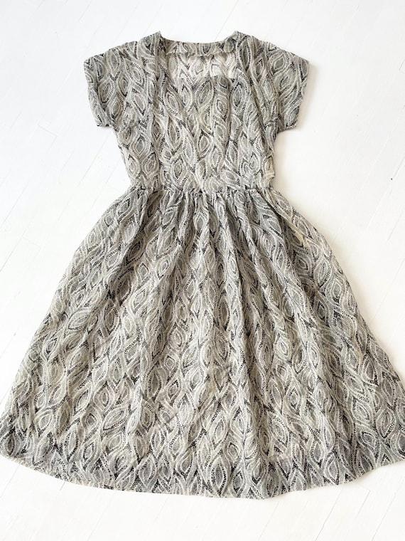 1950s Printed Sheer Chiffon Dress - image 5