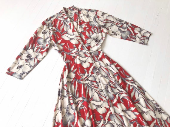1980s Norma Kamali Red Floral Print Wrap Dress