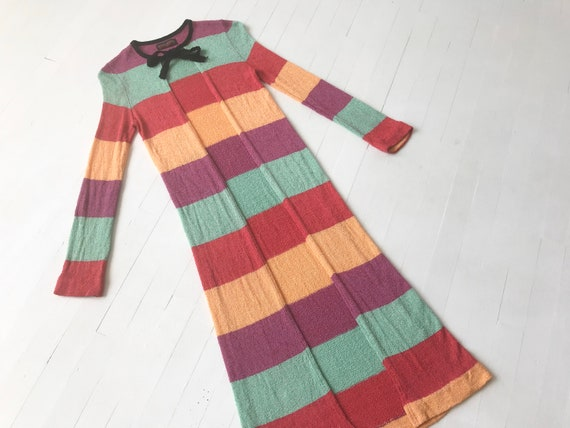 1970s Striped Rainbow Knit Duster