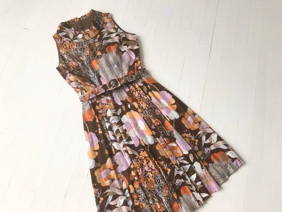 1960s Botanical Print Belted Dress