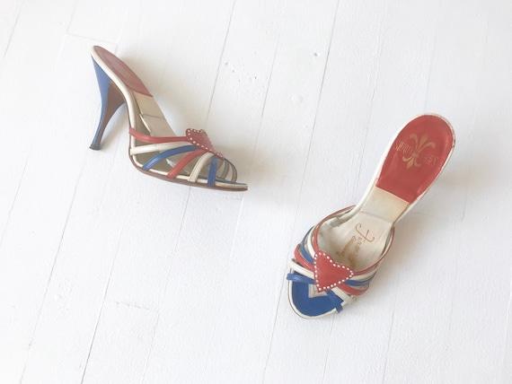1950s Red White + Blue Heart Springolator Heels
