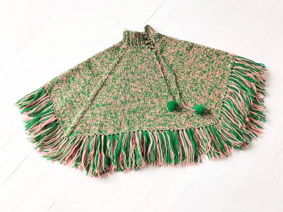 Vintage Green + Pink Wool Knit Poncho