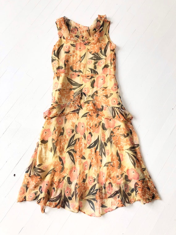 1930s Floral Silk Chiffon Dress AS IS - image 3