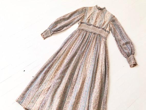 1970s Striped Printed Maxi Dress