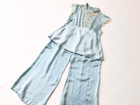1940s Blue Satin Silk + Lace Pyjamas