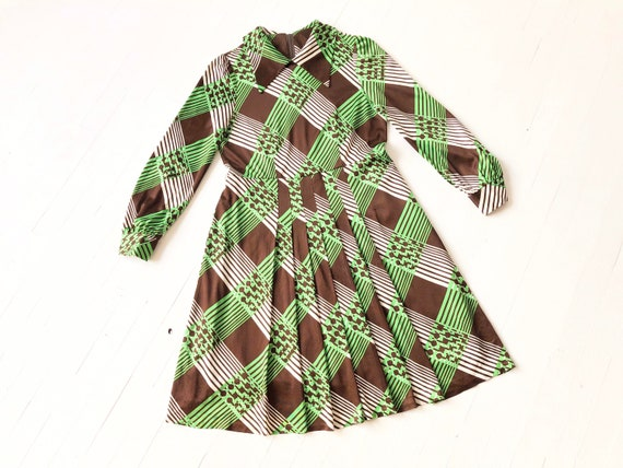 1970s Green + Brown Plaid Dress