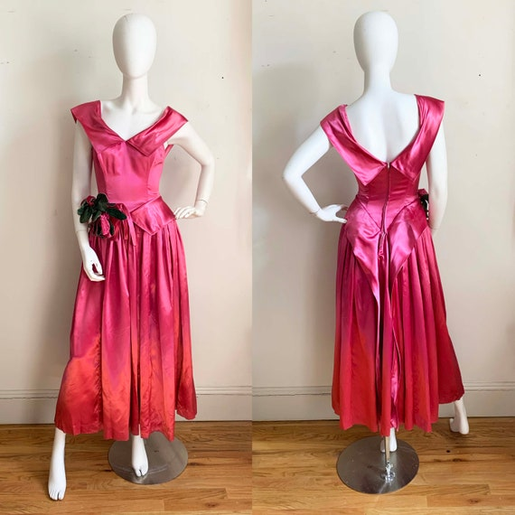 1940s Fuchsia Liquid Satin Flora Gown