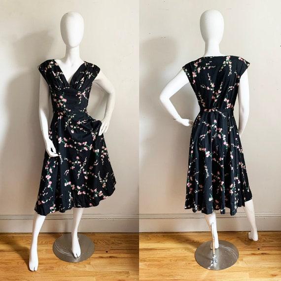 1950s Black Cotton Floral Dress