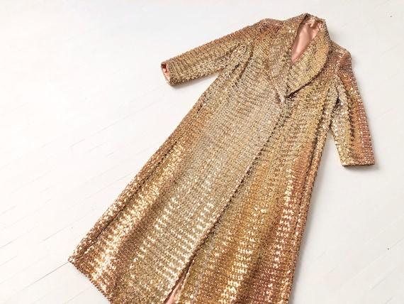1970s Halston Gold Sequin Duster Jacket