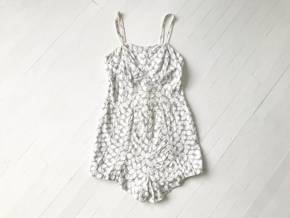 1950s Cotton Floral One Piece Swimsuit