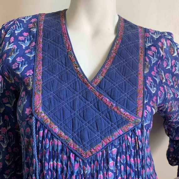 1970s Indian Indigo Cotton Gauze Dress - image 3