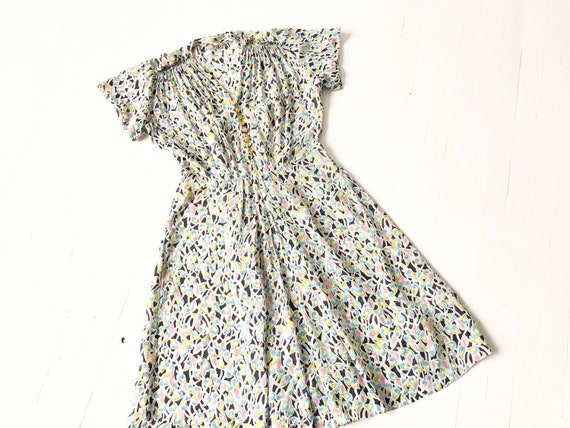 1940s Chiffon Heart Print Dress
