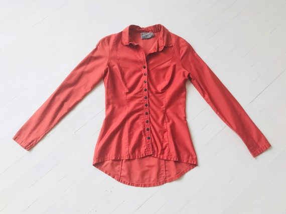 1970s Betsey Johnson Alley Cat Coral Shirt - image 1