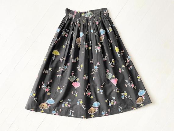 1950s Black Novelty Print Skirt - image 2