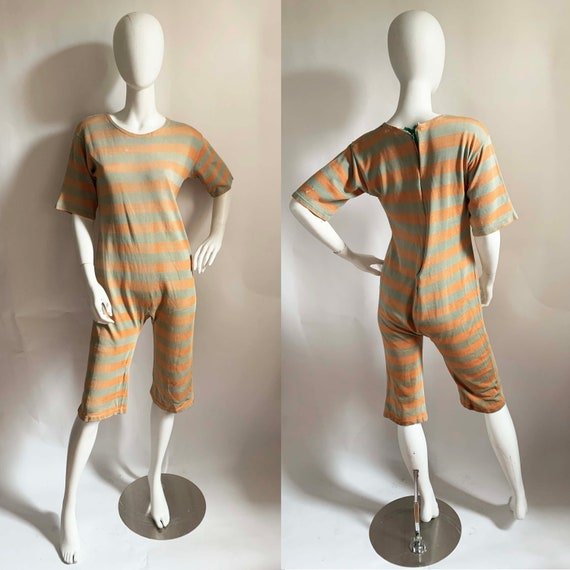 1940s Rayon Jersey Striped Onsie