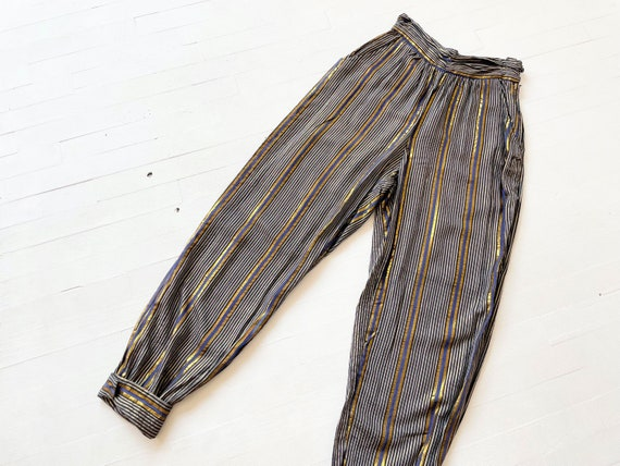 1970s Adini Metallic Striped Pants - image 1