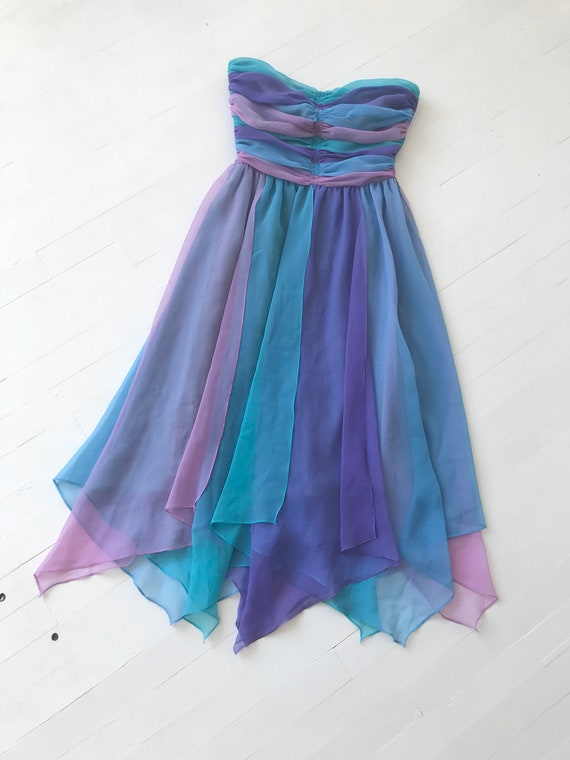 1980s-Does-1950s Pastel Colorblock Chiffon Dress - image 9
