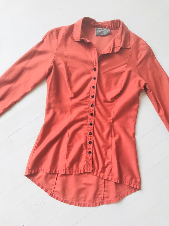 1970s Betsey Johnson Alley Cat Coral Shirt - image 3