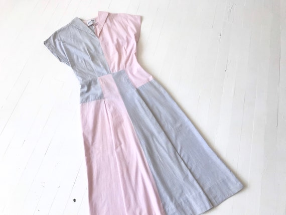 1940s Pink + Grey Colorblock Dress
