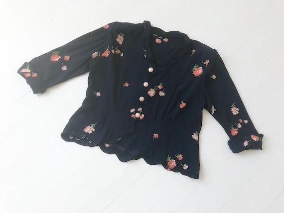 1940s Navy Rayon Floral Print Scallop Blouse