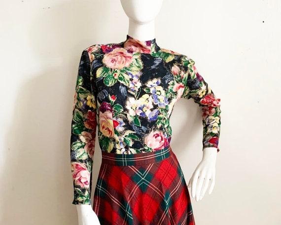 1980s KOOS van den Akker Floral Silk Blouse