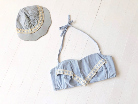 1950s Blue Halter Crop Top + Matching Cap