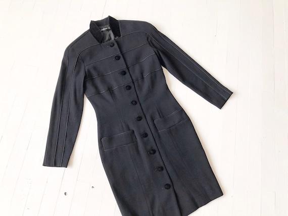1980s Louis Féraud Black Button Down Dress