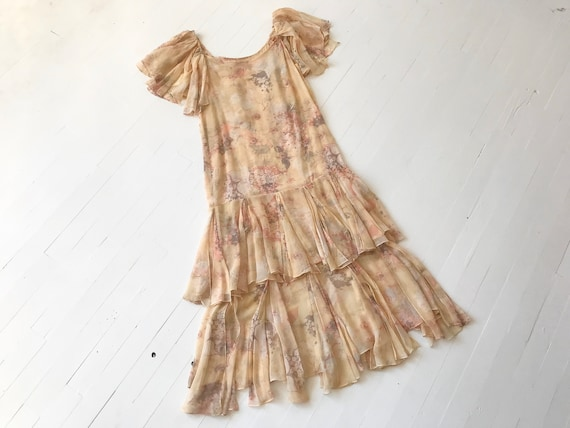 1970s-Does-1920s Silk Chiffon Floral Ruffled Dress