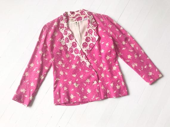 1980s Ungaro Hot Pink Floral Silk Blazer