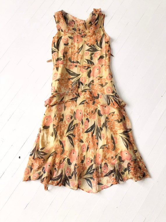 1930s Floral Silk Chiffon Dress AS IS - image 9
