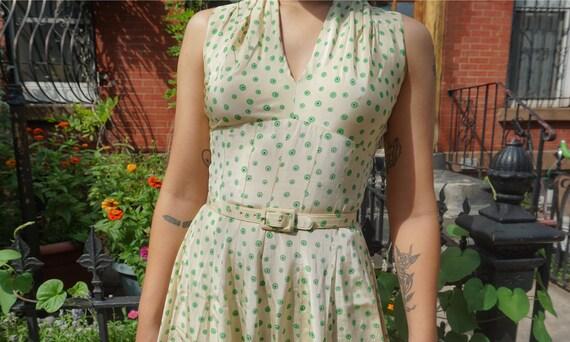 1950s Jonathan Logan Yellow Dotted Dress