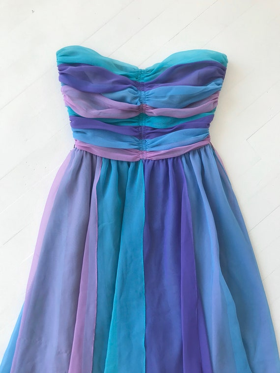 1980s-Does-1950s Pastel Colorblock Chiffon Dress - image 2