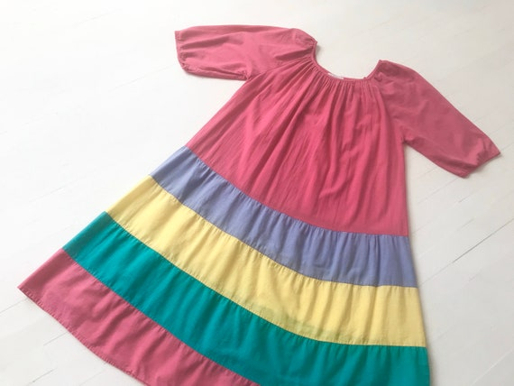 1980s Pink Striped Colorblock Dress