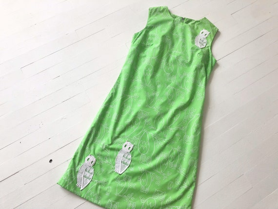 1960s Green Owl Print Minidress
