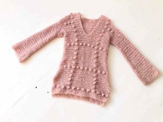 Vintage Dusty Pink Popcorn Knit Sweater