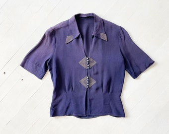 1940s Navy Rayon Blouse AS IS