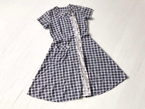 1950s Navy + White Gingham Dress