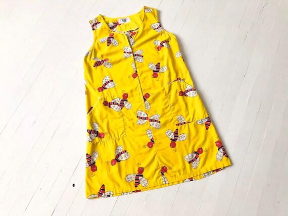 1970s Yellow Bee Print Minidress