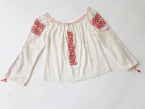 1970s Embroidered Cotton Gauze Blouse