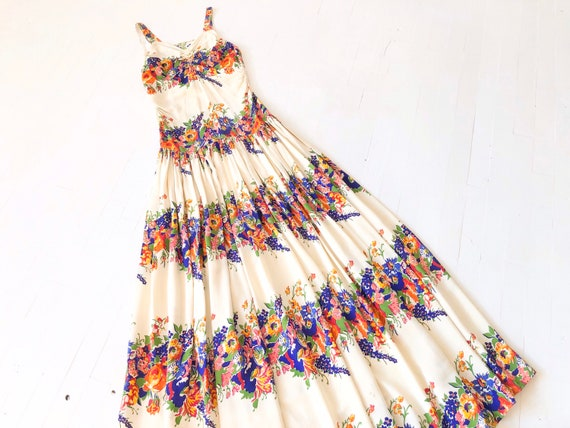 1930s Long Floral Rayon Dress