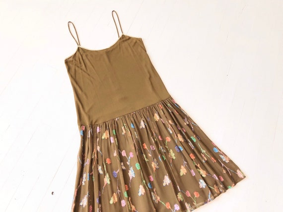 1970s Radley Brown Rainbow Lurex Dress