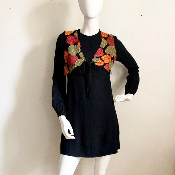 1970s Black Crepe Floral Dress