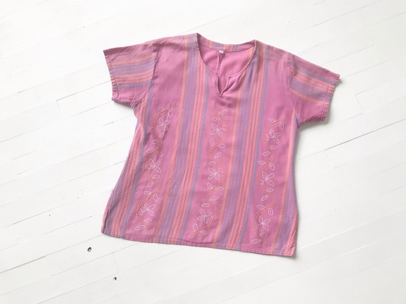 Vintage Lilac Embroidered Blouse - image 1